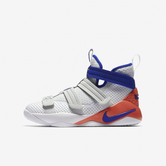 reputable site dd7df d7a2d Nike LeBron Soldier XI SFG Basketball Shoes Boys White Infrared Pure  Platinum Racer