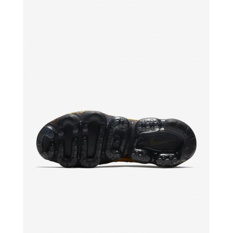 7167669a33cb5 Nike Air VaporMax Flyknit Running Shoes Mens Black Dark Grey Mineral Gold  849558- ...
