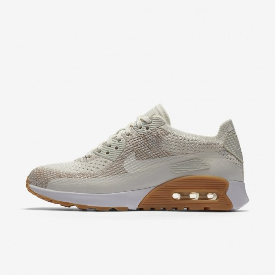 Nike Air Max 90 Ultra 2.0 Flyknit Lifestyle Shoes Womens Sail/Sand/Gum Yellow/White 881109-106