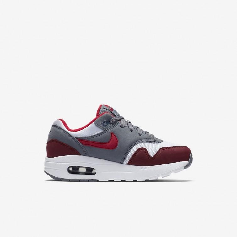 59b39fe81956 ... Nike Air Max 1 Lifestyle Shoes Boys White Cool Grey Team Red University  ...