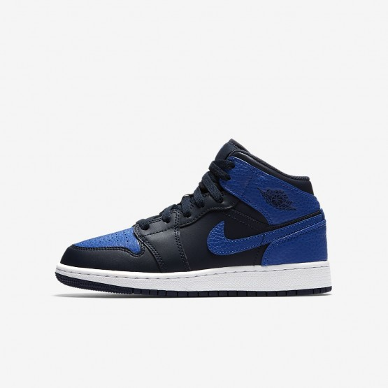 Zapatillas Casual Nike Air Jordan 1 Mid Niño Obsidian/Blancas/Azul Real 554725-412