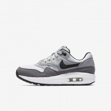 Nike Air Max 1 Lifestyle Shoes Boys White/Wolf Grey/Gunsmoke/Black 807602-108