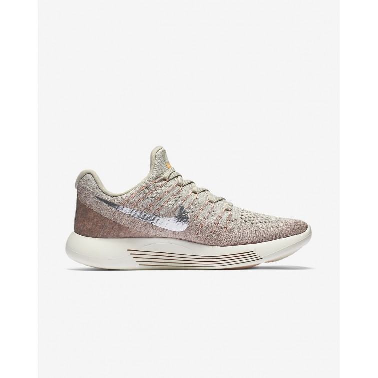 70429ede659 ... Nike LunarEpic Low Flyknit 2 Running Shoes Womens Pale Grey Sunset Glow Taupe  Grey ...