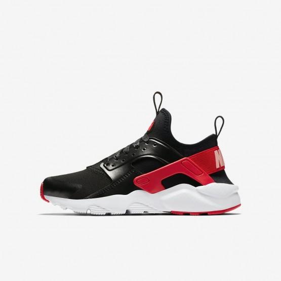 Nike Air Huarache Run Ultra QS Lifestyle Shoes Girls Black/Bleached Coral/Speed Red AO1030-001