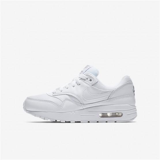 Nike Air Max 1 Lifestyle Shoes Boys White/Metallic Silver 807602-100