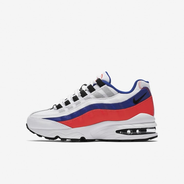 b7bbcdeb08958e Nike Air Max 95 Lifestyle Shoes Boys White Solar Red Ultramarine Black  905348