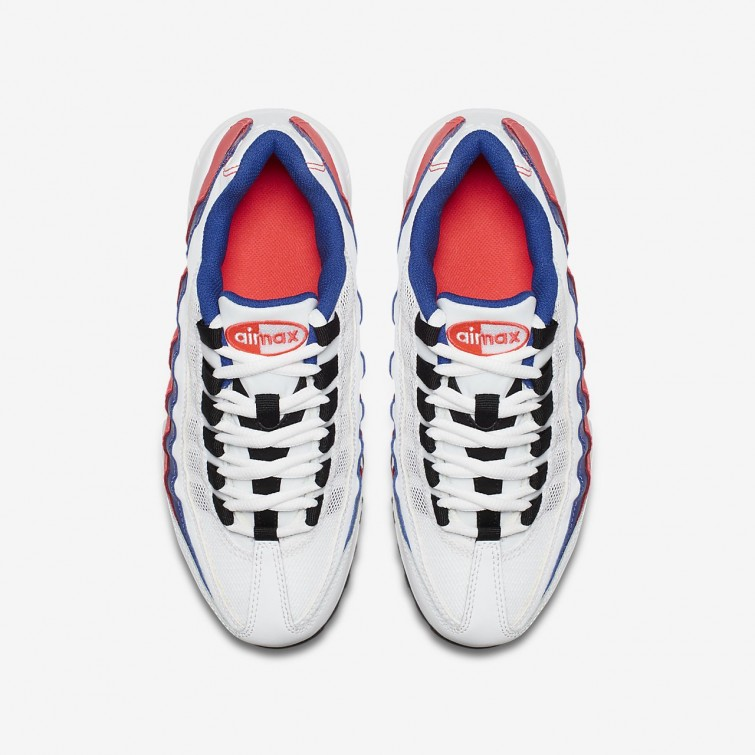 459d05677c0baa ... Nike Air Max 95 Lifestyle Shoes Boys White Solar Red Ultramarine Black  905348 ...