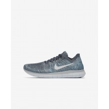 Nike Free RN Flyknit 2017 Running Shoes Boys Blue Fox/Wolf Grey/White/Pure Platinum 881973-402