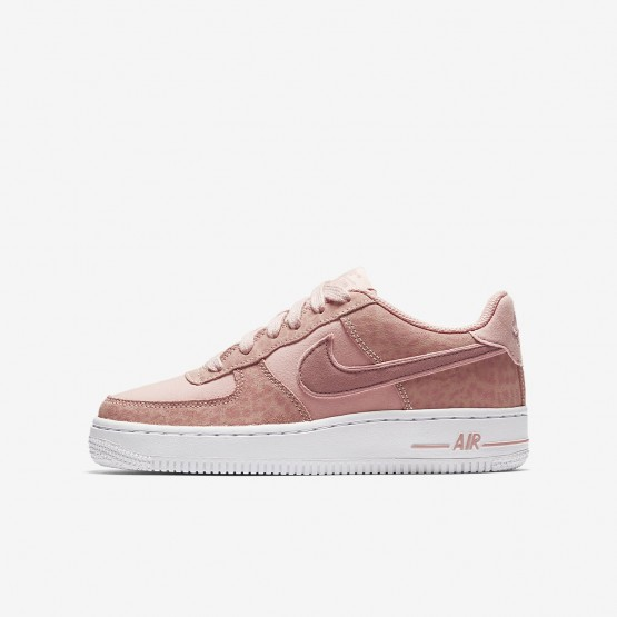 Nike Air Force 1 Lifestyle Shoes Girls Coral Stardust/White/Rust Pink 849345-600
