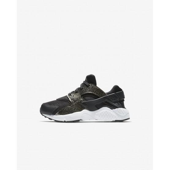 Nike Huarache Lifestyle Shoes Girls Black/Metallic Gold/White 859591-005