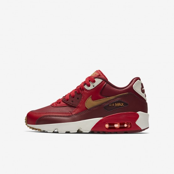Nike Air Max 90 Leather Casual Schoenen Jongens Rood/Rood/Goud 833412-602