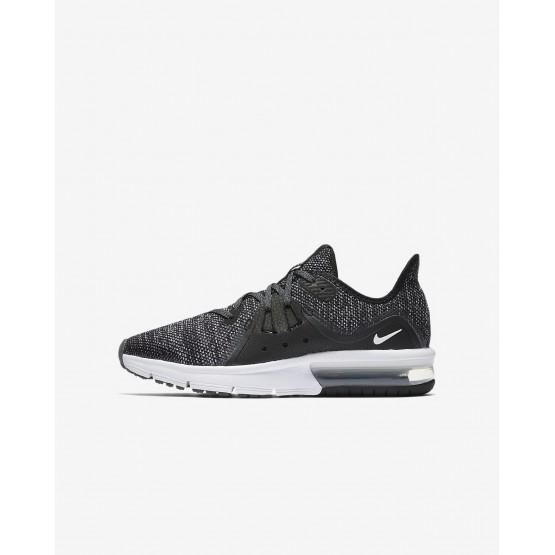 Nike Air Max Sequent 3 Running Shoes Boys Black/Dark Grey/White/Metallic Hematite 922884-001