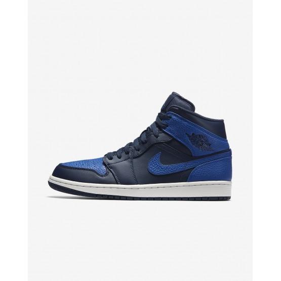 Nike Air Jordan 1 Mid Lifestyle Shoes Mens Obsidian/Summit White/Game Royal 554724-412