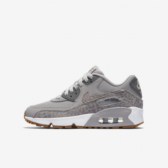 Nike Air Max 90 SE Leather Lifestyle Shoes Girls Atmosphere Grey/White/Gum Light Brown/Gunsmoke 897987-004