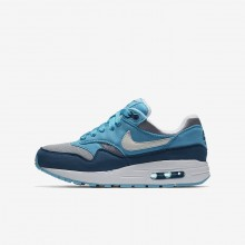 Nike Air Max 1 Casual Schoenen Jongens Grijs/LichtBlauw/Blauw/Wit 807602-003