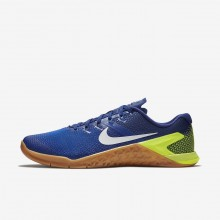 Nike Metcon 4 Training Shoes Mens Volt/Racer Blue/Gum Medium Brown/White AH7453-701
