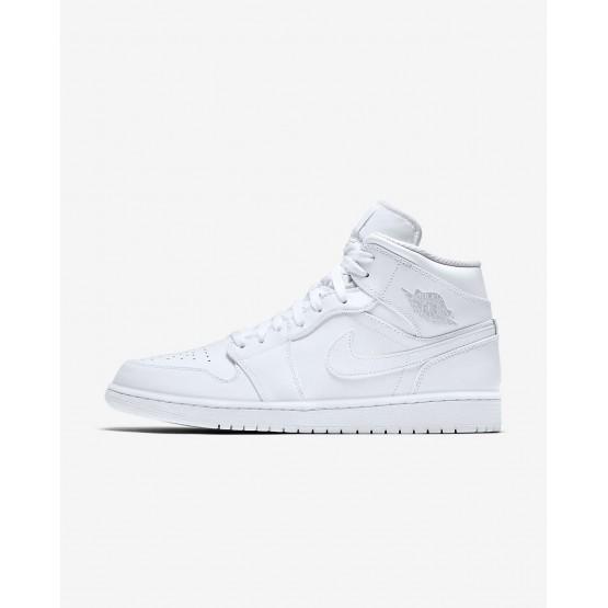 Nike Air Jordan 1 Mid Lifestyle Shoes Mens White/Pure Platinum 554724-104