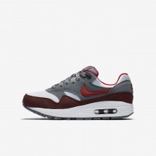 Nike Air Max 1 Lifestyle Shoes Boys White/Cool Grey/Team Red/University Red 807602-109