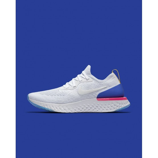 Nike Epic React Flyknit Running Shoes Womens White/Racer Blue/Pink Blast AQ0070-101