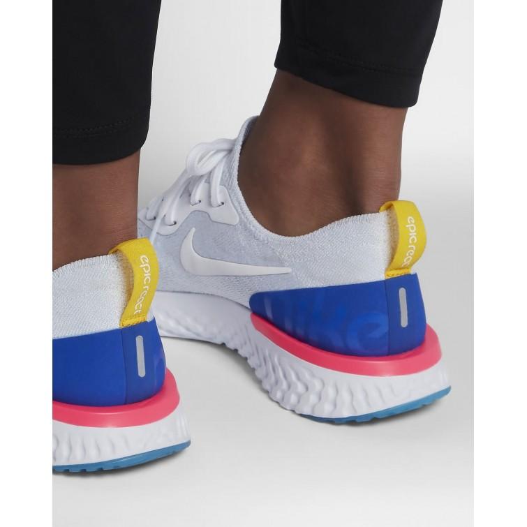 51aa86b2ef18e ... Nike Epic React Flyknit Running Shoes Womens White Racer Blue Pink  Blast AQ0070- ...