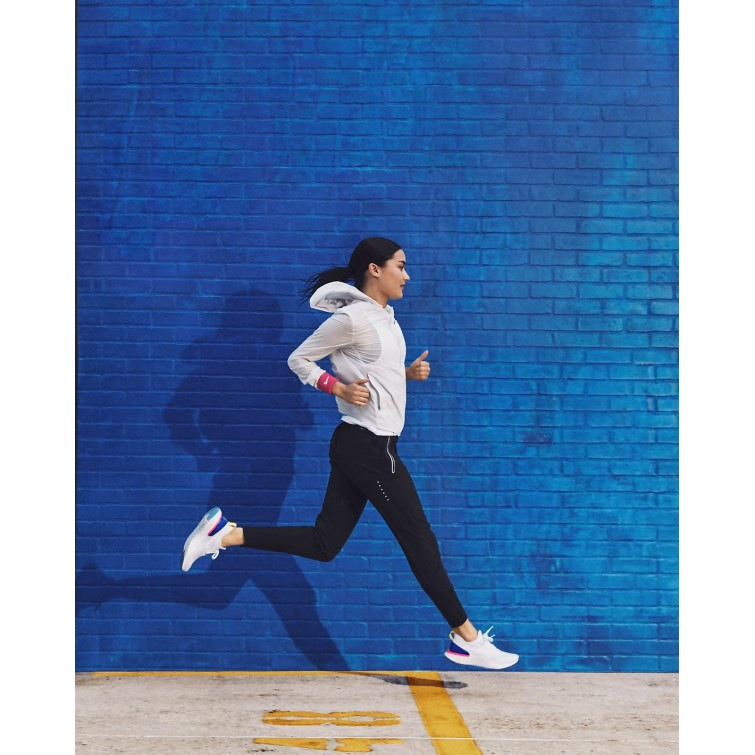 Nike Epic React Flyknit Blau Rosa Damen Running Schuhe