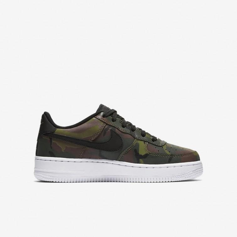 fde99fd6a ... Zapatillas Casual Nike Air Force 1 LV8 Niño Verde Oliva Marrones Negras  820438- ...