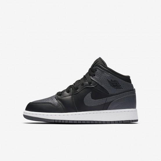 Nike Air Jordan 1 Mid Freizeitschuhe Jungen Schwarz/Weiß/DunkelGrau 554725-041