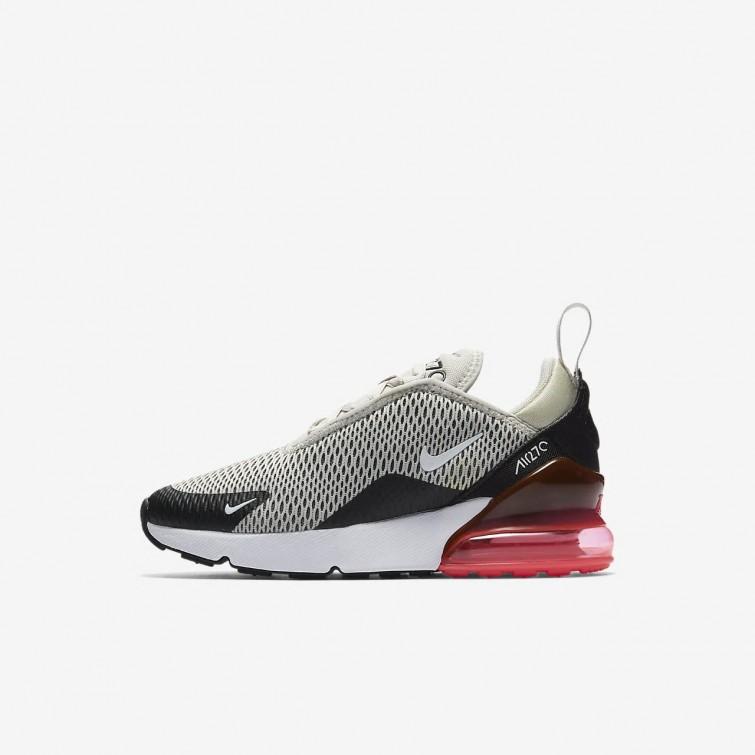 920d81e636b9 Nike Air Max 270 Lifestyle Shoes Boys Light Bone Black Hot Punch White