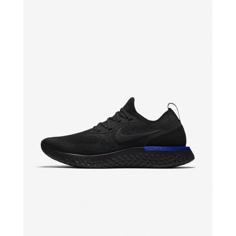27b82ed2a37bb Nike Epic React Flyknit Running Shoes Womens Black Racer Blue AQ0070-004
