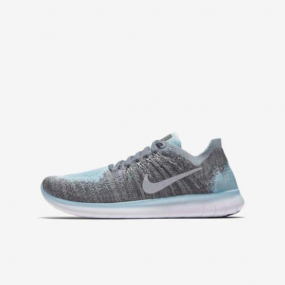 Nike Free RN Flyknit 2017 Running Shoes Boys Metallic Silver/Cool Grey/Dark Grey/Reflect Silver 881974-002
