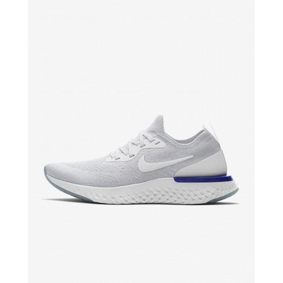 Nike Epic React Flyknit Running Shoes Womens White/Racer Blue AQ0070-100