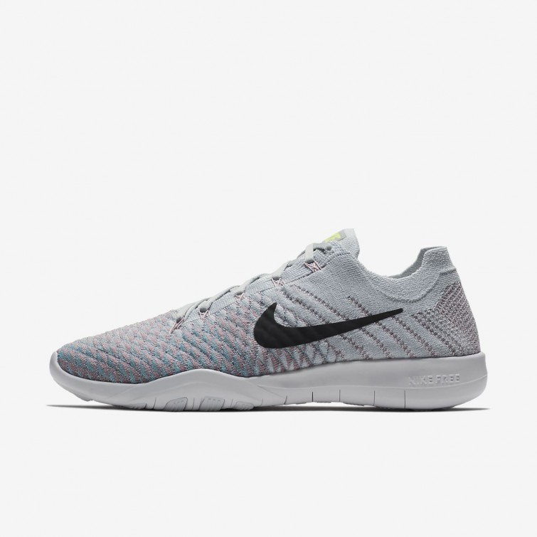 the latest 23009 9a40c Nike Free TR Flyknit 2 Training Shoes Womens Pure Platinum Plum Fog Mica  Blue