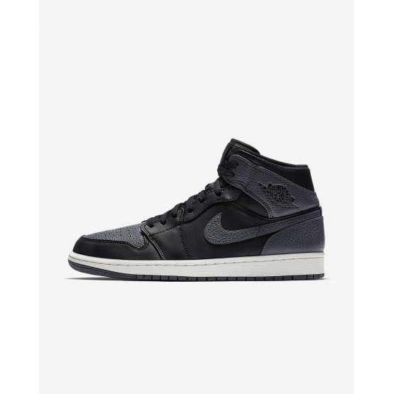 Nike Air Jordan 1 Mid Lifestyle Shoes Mens Black/Summit White/Dark Grey 554724-041